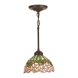 Meyda Tiffany - Meyda Tiffany 18710 Cabbage Rose Traditional Pendant Light - A wreath of full blooming Passion Pink cabbage roses circle this beautiful stained glass shade in a design inspired by the Louis Comfort Tiffany studio. Bronzed Green leaves and stems form a pattern against an Opal sky in this lovely Mahogany Bronze finished mini pendant.