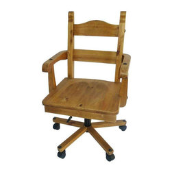 Wood Desk Chair on Casters - $299 Est. Retail - $250 on Chairish.com -