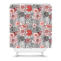 Shower Curtain Flower Gray Red Black 71x74 Bathroom Decor Made in the USA - DETAILS: