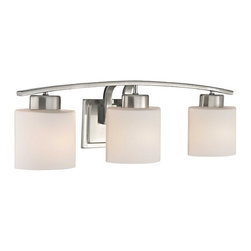 Design Classics Lighting - Bathroom Wall Light with White Oval Glass - Three Lights  - 1383-09 - Satin nickel finish bathroom wall light with white oval glass shades. Takes (3) 100-watt incandescent A19 bulb(s). Bulb(s) sold separately. UL listed. Dry location rated.