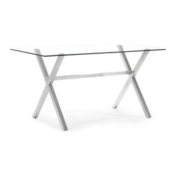 Zuo Modern - Zuo Graphite Counter Table in Clear Glass - Counter Table in Clear Glass belongs to Graphite Collection by Zuo Modern The Graphite counter table is a sleek and fun piece to cater everyone��_�s attention. Made from tempered glass and a stainless steel frame. Dining Table (1)