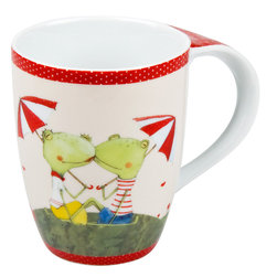 Konitz - Set of 4 Mugs Frog Couple - This loving frog couple is bordered by darling polka dot trim. A perfect mug for the lover in us all.