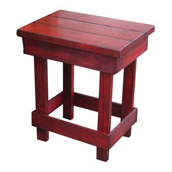 Rustic Exquisite Designs - Medium Red End Table - This beautiful red end table is finished off with an ebony glaze and will add a fun pop to your home. Measures 23L x 16W x 26H. Use as a end table, side table or night stand. Very sturdy and durable.