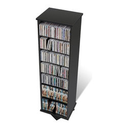 Prepac - Floor Media Spinning 2 -Sided Multimedia Revolving Tower - Prepac''s multimedia collection represents the most complete assortment of high capacity multimedia storage in the world. Every product has been designed and engineered to accommodate large capacities of CDs, DVDs, videos and cassettes. Attractive finishes, curved edges, quick-assembly fasteners and unique protective packaging make Prepac the undisputed champion in this new and exciting high growth category. His versatile unit spins effortlessly to allow you access to your collection from two sides. Using just one square foot of floor space, this unit is perfect for medium-sized collections in limited spaces. Fully adjustable shelves can be set to any position to accommodate your collection and ensure full flexibility for any future changes. Horizontal storage allows for easy sorting, filing and re-filing of your collection as it grows. With ample shelf space, two finishes to choose from, and attractive, curved edges, the Spinning 2-Sided Media Tower is perfect for organizing any music or video collection. Features: -Two-sided spinning design.-Adjustable shelves.-Attractive, curved edges.-Distressed: No.-Collection: Floor Media Storage.-Country of Manufacture: Canada.Specifications: -Holds 512 CDs, 220 DVDs, 120 videos or 110 Disney videos.Dimensions: -Overall Product Weight: 42 lbs..Warranty: -5 year manufacturer''s limited warranty. About the Manufacturer: About Prepac: Founded in 1979, Prepac Manufacturing is a state-of-the-art manufacturer of home furnishings and storage products with its main manufacturing factory located in the heart of the forest-rich province of British Columbia, Canada. Prepac is now one of the largest producers of ready to assemble furniture in Canada, with full-service representation throughout North America. To ensure our customers receive outstanding design and quality at competitive prices, Prepac''s design, engineering, production, testing and packaging are all done in-house.