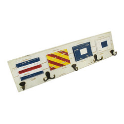Wooden Distressed Finish Nautical Flag Wall Hooks - Decorative wall hooks are a great way to get organized, providing a place to hang items that may be taking up space on counters or that are constantly draped over furniture. This wooden plaque features nautical flags with an allover distressed finish, has 7 hooks, and measures 24 1/2 inches long, 6 1/4 inches tall, 2 1/2 inches deep. This piece is a great accent to nautical or beach themed decor and is perfect for hanging towels and robes in the bathroom, or for hanging hats, jackets, and dog leashes in your home.