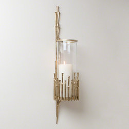 Golden Spring - Wall mount candle holder with textured golden metal details, adds ambiance instantly
