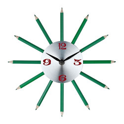 Modway - Pencil Wall Clock in Silver Red Black Green - Hone your creative abilities with twelve finely sharpened channels of inspiration. Actual green colored pencils help turn thoughts into writing as you develop your own flowing narrative of life. Connect insights, and time, as you inscribe reality with the gift of green and verdant contributions.