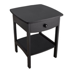 Winsome Wood - Winsome Wood Curved End Table / Night Stand with Black Finish X-81202 - Elegantly simple, this night stand has room for all the necessary nighttime accessories. Its curved, smooth design blends well with any style of bedroom decor.  Assembly Required.