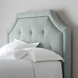 "Bernhardt - Bernhardt ""Savoy"" Headboard - We love the shapely silhouette that cut corners give this upholstered headboard. Mix in button tufting and nailhead trim and you have the perfect focal point for your bed. Handcrafted. Polyester upholstery on hardwood frame. Select color when ordering. Finished back. Drilled for metal bed fram"