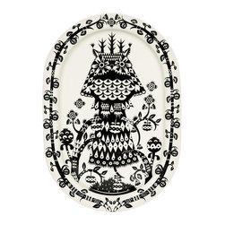 """iittala Taika Serving Platter 16.1"""" Black - Iittala Taika is part of the whimsical Taika series, illustrated by Klaus Haapaniemi for Iittala in 2007. Available in white, blue and black the design draws upon folklore for a fanciful design that is visually stunning. Taika means 'magic' in Finnish and the classic forms designed by Heikki Orvola combine well with other Iittala collections, brings a playful magic to your table."""