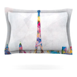 """Kess InHouse - Mareike Boehmer """"Paris"""" City Rainbow Pillow Sham (Cotton, 30"""" x 20"""") - Pairing your already chic duvet cover with playful pillow shams is the perfect way to tie your bedroom together. There are endless possibilities to feed your artistic palette with these imaginative pillow shams. It will looks so elegant you won't want ruin the masterpiece you have created when you go to bed. Not only are these pillow shams nice to look at they are also made from a high quality cotton blend. They are so soft that they will elevate your sleep up to level that is beyond Cloud 9. We always print our goods with the highest quality printing process in order to maintain the integrity of the art that you are adeptly displaying. This means that you won't have to worry about your art fading or your sham loosing it's freshness."""