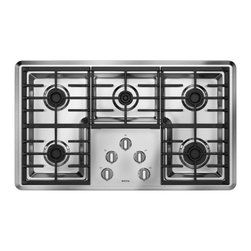 """Maytag - MGC7536WS 36"""" Sealed Burner Gas Cooktop With 5 Sealed Burners Including 1 Simmer - Prepare your favorite meals on this gas cooktop that features 5 burners that range from 5000 to 15000 BTUs and continuous cast-iron grates that allow for easy movement of pots and pans"""
