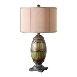Global Direct - Green Living Room Lamp: 29.5 in. Dripped Green Glaze Table Lamp 26809-1 - Shop for Lighting & Fans at The Home Depot. This urn lamp will add warmth to you room. It has a ceramic base finished in a dripped green glaze with orange rust undertones, aged black accents and crackled oil rubbed bronze details. The round drum shade is a silken rust bronze fabric.
