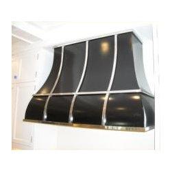 Transitional Style Vent Hoods - Black Steel with Polished Nickel Banding Custom Metal Vent Hood  http://www.customventhoods.com