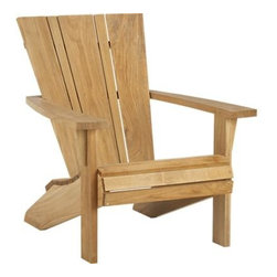 Vista Adirondack Chair - Vista takes a long view of the classic outdoor chair, crafted of durable, kiln-dried teak with sleek refinements to stand the test of time. Richly grained teak warms to the chair's iconic wide flat armrests and contoured seats with an updated square-off backrest with slim and wide slats to play up the wood's natural markings and color variations. Environmentally sourced teak wood is certified by the Forest Stewardship Council (FSC), a nonprofit organization that encourages responsible management of the world's forests. We recommend allowing the unfinished teak to weather to a silvery grey. To maintain the natural color, use our Golden Care® Teak Protector.