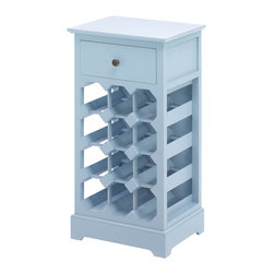 Gifts Galore - Somerset Blue Wine Cabinet - What a noble way to store your favorite wine!  This lovely storage cabinet features a pullout drawer at top and seats 12 bottles of vino below'  The calming shade of blue will showcase your great taste in decor and wine!