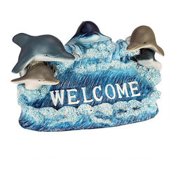 EttansPalace - Dolphin Welcome Statue - You can roll out the coastal welcome mat with this school of dolphins who'd love to make a splash in your home or garden. Our Design, dolphin statue, complete with five of happy marine mammals, is sculpted 360 degrees for an even wider welcome! Cast in quality designer resin, this dolphin sculpture is hand-painted as the perfect house-warming gift with a little bit of coastal hospitality! Another Design garden animal statue!
