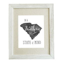 "SC – In a Southern State of Mind 8x10 Watercolor Print (Frame Not Included) - This original typographic print features ""In a Southern State of Mind"" with a silhouette of South Carolina in black/grey watercolor. 8x10 unframed giclee print on high quality 100lb felt cover stock. (similar to watercolor paper) Ships flat in protective packaging."