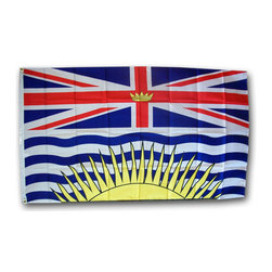 Flagline - British Columbia - 3'X6' Nylon Flag - Designed for outdoor use, these beautiful long-wearing 3' x 6' British Columbia flags are crafted from the highest quality 200-denier nylon. The colors are dyed into the fabric for superior penetration and color-fastness. Attaching to a pole is easy with the canvas header and brass grommets on the 3' side. The hem on the fly end of the flag features 4 lock stitched rows to help prevent premature fraying. The authentic designs are based on information from official sources.
