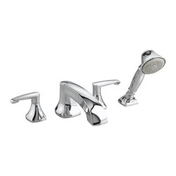 American Standard - Copeland Roman Tub Faucet with Handshower in Polished Chrome - American Standard 7005.901.002 Copeland Roman Tub Faucet with Handshower in Polished Chrome. A unique composition: formal, classic, without being ornate. Inspired by traditional door handles and architectural hardware, Copeland's timeless silhouettes bridge traditional  and contempory pieces.American Standard 7005.901.002 Copeland Roman Tub Faucet with Handshower in Polished Chrome, Features:2 metal lever handles are easy to reach and adjust