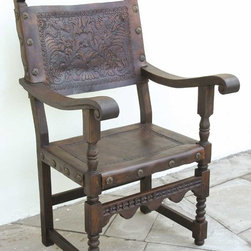 """Tooled leather back and seat Spanish friar's chair - BC-CHR-07: This richly hand-tooled leather seat and back friar's chair measures 26"""" W x 28"""" D x 43 1/2"""" H, and is based on a 17th chair from Spain. Amazingly comfortable, the width, depth and pitch on this chair are perfect."""