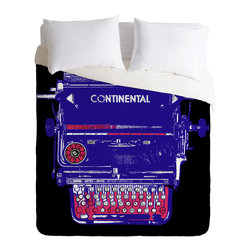 DENY Designs - Romi Vega Continental Typewriter Duvet Cover - Turn your basic, boring down comforter into the super stylish focal point of your bedroom. Our Luxe Duvet is made from a heavy-weight luxurious woven polyester with a 50% cotton/50% polyester cream bottom. It also includes a hidden zipper with interior corner ties to secure your comforter. it's comfy, fade-resistant, and custom printed for each and every customer.