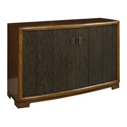 American Drew - American Drew Grove Point Server in Soft Khaki - Server in Soft Khaki belongs to Grove Point Collection by American Drew Soft Khaki, Primavera Veneer, Hardwood Solids, Sand Colored Raffia and Linen Fabric, Chocolate Brown Accent Finish Server (1)