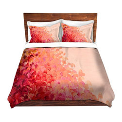 DiaNoche Designs - Duvet Cover Microfiber by Julia Di Sano - Creation in Color Coral Pink - DiaNoche Designs works with artists from around the world to bring unique, artistic products to decorate all aspects of your home.  Super lightweight and extremely soft Premium Microfiber Duvet Cover (only) in sizes Twin, Queen, King.  Shams NOT included.  This duvet is designed to wash upon arrival for maximum softness.   Each duvet starts by looming the fabric and cutting to the size ordered.  The Image is printed and your Duvet Cover is meticulously sewn together with ties in each corner and a hidden zip closure.  All in the USA!!  Poly microfiber top and underside.  Dye Sublimation printing permanently adheres the ink to the material for long life and durability.  Machine Washable cold with light detergent and dry on low.  Product may vary slightly from image.  Shams not included.