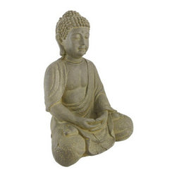 Fiber Stone Meditating Buddha Indoor/Outdoor Statue 12 In. - Gautama Buddha was a spiritual teacher from India, on whose teachings Buddhism was founded. The word `Buddha` is a title for the first awakened being in an era. This fiber stone statue depicts a peaceful, meditating Buddha. It measures 12 inches tall, 8 1/2 inches wide, 7 inches deep, and is suitable for indoor or outdoor use. This piece makes a wonderful housewarming gift, and is sure to bring a feeling of peace and serenity to all that view it.