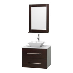 """Wyndham Collection - Centra Bathroom Vanity in Espresso,WT Stone Top,Pyra White Sink,24"""" Mir - Simplicity and elegance combine in the perfect lines of the Centra vanity by the Wyndham Collection. If cutting-edge contemporary design is your style then the Centra vanity is for you - modern, chic and built to last a lifetime. Available with green glass, pure white man-made stone, ivory marble or white carrera marble counters, with stunning vessel or undermount sink(s) and matching mirror(s). Featuring soft close door hinges, drawer glides, and meticulously finished with brushed chrome hardware. The attention to detail on this beautiful vanity is second to none."""