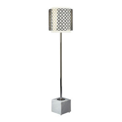 Jonathan Adler - Jonathan Adler Parker Floor Lamp From the Parker Collection - Jonathan Adler Parker Floor Lamp From the Parker Collection by Jonathan Adler comes this bold floor lamp. The white frosted glass shade enveloped by a metal shade of interlocking squares sits atop a perforated metal post on a marble or metal base for an attention-grabbing style. Full-range dimming provides just the right amount of light. Use with others in the collection for a more complete look.