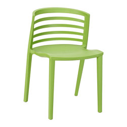 LexMod - Curvy Green Plastic Chair - Indulge in no-frills, straightforward contemporary style with this modern multi-purpose chair. Made from heavy-duty molded plastic this chair was built to last. Eye catching and comfortable, this reproduction brings fashion and flavor to your space.