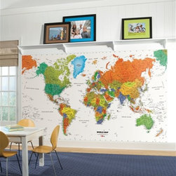 RR - World Map Chair Rail XL Wall Mural - World Map Chair Rail XL Wall Mural