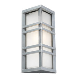 PLC Lighting - PLC 1 Light Outdoor Wall Fixture Trevino Collection 8020/CFL SL - -Finish: Silver