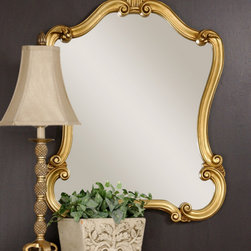 Uttermost 08340-p Walton Hall Gold Mirror - I love this curvy style as a mantel mirror; it's a great choice for over your fireplace. Flanked by some sconces or framed by art, this mirror is a beautiful option for a living room.