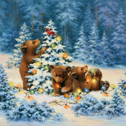 Murals Your Way - Playful Bears Wall Art - Two brown bear cubs are having a fine time playing with Christmas lights in the snowy woods in this wall mural