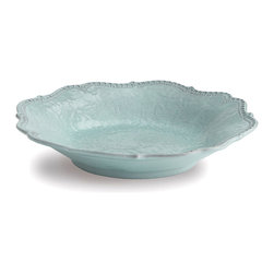 Merletto Aqua Pasta/Soup Bowl - Find a new appreciation for the inherent drama of antique lace with this handsome piece of handmade Italian ceramic ware, the Merletto Aqua Pasta and Soup Bowl.  The border of this scalloped-edge, vintage-inspired bowl is impressed with a spectacular heirloom lace design that wraps over its edge, defining the curves and displaying traditional splendor.