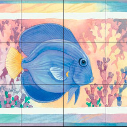 The Tile Mural Store (USA) - Tile Mural - Blue Tang  2 - Kitchen Backsplash Ideas - This beautiful artwork by Paul Brent has been digitally reproduced for tiles and depicts a Blue Tang.  This tile mural featuring fish and sea life would be perfect as a part of your kitchen backsplash tile project or your tub and shower surround bathroom tile project. Images of tropical fish on tile make a fantastic kitchen backsplash idea and are great to use in the bathroom too for your shower tile project. Consider a tile mural of sealife and fish for any room in your home where you want to add wall tile with interest.