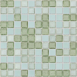"Susan Jablon Mosaics - Blended Green Glass Tile Mix - This glass tile blend is a mix of 1"" tones of jadeite and sage green pair. This blend of glass tile pairs beautifully with your white, cream, brown or black counter top.4 different glass tiles in shades of green are combined to form this custom mosaic blend.This mosaic features iridescent, frosted and other tiles. It is very easy to install as it comes by the square foot on mesh and it is very easy to clean! About a decade ago, Susan Jablon re-ignited her life-long passion for mosaics and has built a customer-focused, artist-driven, business offering you the very best in glass and decorative tiles and mosaics. We are a glass tile store committed to excellence both personally and professionally. With lines of 100% SCS Qualified recycled tile, 12 colors and 6 shapes of mirror, semi precious turquoise stones from Arizona mines, to color changing dichroic glass. Stainless steel tiles in 8mm and 4mm and 12 designs within each, and anything you can dream of. Please note that the images shown are actual photographs of the tiles however, colors may vary due to the calibration of each individual monitor. Ordering samples of the tiles to verify color is strongly recommended."