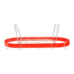 """Rogar - Oval with Grid, Red/Chrome - Dimensions:  34"""" x 16"""
