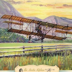 """Buyenlarge.com, Inc. - The Martin Biplane, 1909- Gallery Wrapped Canvas Art 12"""" x 18"""" - Biplanes or planes with Double sets of Wings during the period of early aviation"""