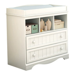 South Shore - South Shore Andover Changing Table in White Finish - South Shore - Baby Changing Tables - 3580330 - The South Shore Handover Changing Table features rounded safety rails for your baby's safety and comfort. Two practical drawers and three open compartments provide ample storage to keep everything you need to care for your little one. Add country flair to your home with the Handover Changing Table. The Handover Collection by South Shore Furniture was designed specifically for your baby bedroom. Each piece has rounded edges that are safe for your children. The decorative toe-kick at the bottom and the wooden plank effect give this baby collection a unique look. Available in Espresso and White finishes the South Shore Furniture Handover Collection is sure to offer a lasting appeal you will enjoy for many years.