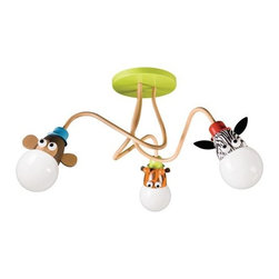 Philips - Kidsplace Flushmount No. 40593 by Philips - Make the playroom a zoo! The Philips Kidsplace Flushmount No. 40593 features 3 playful animals ready for imaginative fun. The colorful bulb sockets spring out from the ceiling and hang close enough to the ceiling to avoid obstruction without diminishing the painted details. For more than 40 years, Philips has offered their distinctive line of contemporary yet accessible lighting for the home. The Philips Lighting collection runs the gamut of modern design, from simple and transitional to organic to modern industrial. Whatever the style of the fixture may be, attention to detail and quality ensures that it will illuminate and enhance spaces indoors or out for many years.