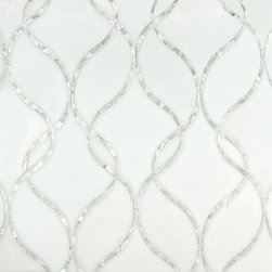 Artistic Tile Claridges Collection - Thassos - Elegant bands of interlocking ribbons, inspired by the door frames at the luxurious Claridges Hotel in London. Inter-twining ribbons of iridescent white fresh water mother of pearl juxtaposed against a graceful background of polished snow white marble. Claridges will add a distinctive classic touch to any space.