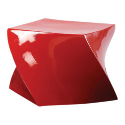 Fine Mod Imports - Cube Fiberglass Ottoman in Red - Features: