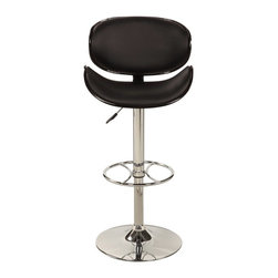 Chintaly - Chintaly Shea Oversize Adjustable Gas Lift Swivel Bar Stool - Black - 1376-AS-BL - Shop for Stools from Hayneedle.com! Curving for comfort the Chintaly Shea Oversize Adjustable Gas Lift Swivel Bar Stool - Black has a leather-upholstered seat in your choice of color. This contemporary stool sits on a sturdy metal frame that is finished in a gleaming chrome. Just pull this stool's lever to adjust the seat height to your comfort.About Chintaly ImportsBased in Farmingdale New York Chintaly Imports has been supplying the furniture industry with quality products since 1997. From its humble beginning with a small assortment of casual dining tables and chairs Chintaly Imports has grown to become a full-range supplier of curios computer desks accent pieces occasional table barstools pub sets upholstery groups and bedroom sets. This assortment of products includes many high-styled contemporary and traditionally-styled items. Chintaly Imports takes pride in the fact that many of its products offer the innovative look style and quality which are offered with other suppliers at much higher prices. Currently Chintaly Imports products appeal to a broad customer base which encompasses many single store operations along with numerous top 100 dealers. Chintaly Imports showrooms are located in High Point North Carolina and Las Vegas Nevada.