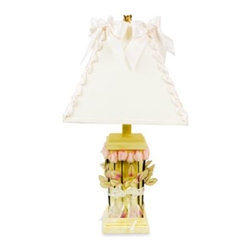 "Glenna Jean - Glenna Jean Roses & Ribbons Yellow Lamp - Beautifully adorned with rosebuds and ribbon, this enchanting lamp will add a beautiful, timeless quality to any nursery. Requires standard size bulb (not included). Measures 14"" L x 14"" W x 24"" H."