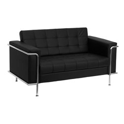 """Flash Furniture - HERCULES Lesley Series Contemporary Black Leather Love Seat with Encasing Frame - This attractive black leather reception love seat will complete your upscale reception area. The design of this love seat allows it to adapt in a multitude of environments with its tufted cushions and visible accent stainless steel frame.; Lesley Series Reception Love Seat; Made of Eco-Friendly Materials; Black Leather Upholstery; Tufted Seat and Back; Fixed Seat and Back Cushion; Foam Filled Cushions; Stainless Steel Accent Bar; Stainless Steel Legs; Assembly Required: Yes; Country of Origin: China; Warranty: 2 Years; Weight: 86 lbs.; Dimensions: 32.25""""H x 59""""W x 33""""D"""