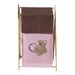 "Sweet Jojo Designs - Teddy Bear Pink Hamper - The Teddy Bear Pink Hamper by Sweet Jojo Designs will add a designers touch to any childs room. This childrens laundry clothes hamper has a wooden frame, mesh liner, and a fabric cover.The removable hamper body is secured to the wooden frame with corner loops and Velcro. The wooden stand folds flat for space-saving storage and the removable mesh liner is great for toting laundry.Dimensions: 15.5"" Length x 16"" Width x 26.5"" Height.If you like the Teddy Bear Pink Hamper Hamper, dont forget to check out the other items in the collection."
