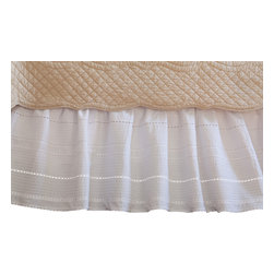 Taylor Linens - Elisa Egg-Shell White Queen Bed Skirt - Rows of delicate pintucks add subtle detail and body to this white cotton bedskirt, creating a soft, billowy effect. You'll think your bed is resting on a cloud.